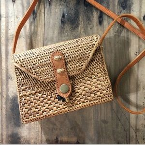 Free people wicker Crossbody with leather strap